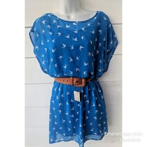 Forever XXI Blue Swallows Dress, Size Medium